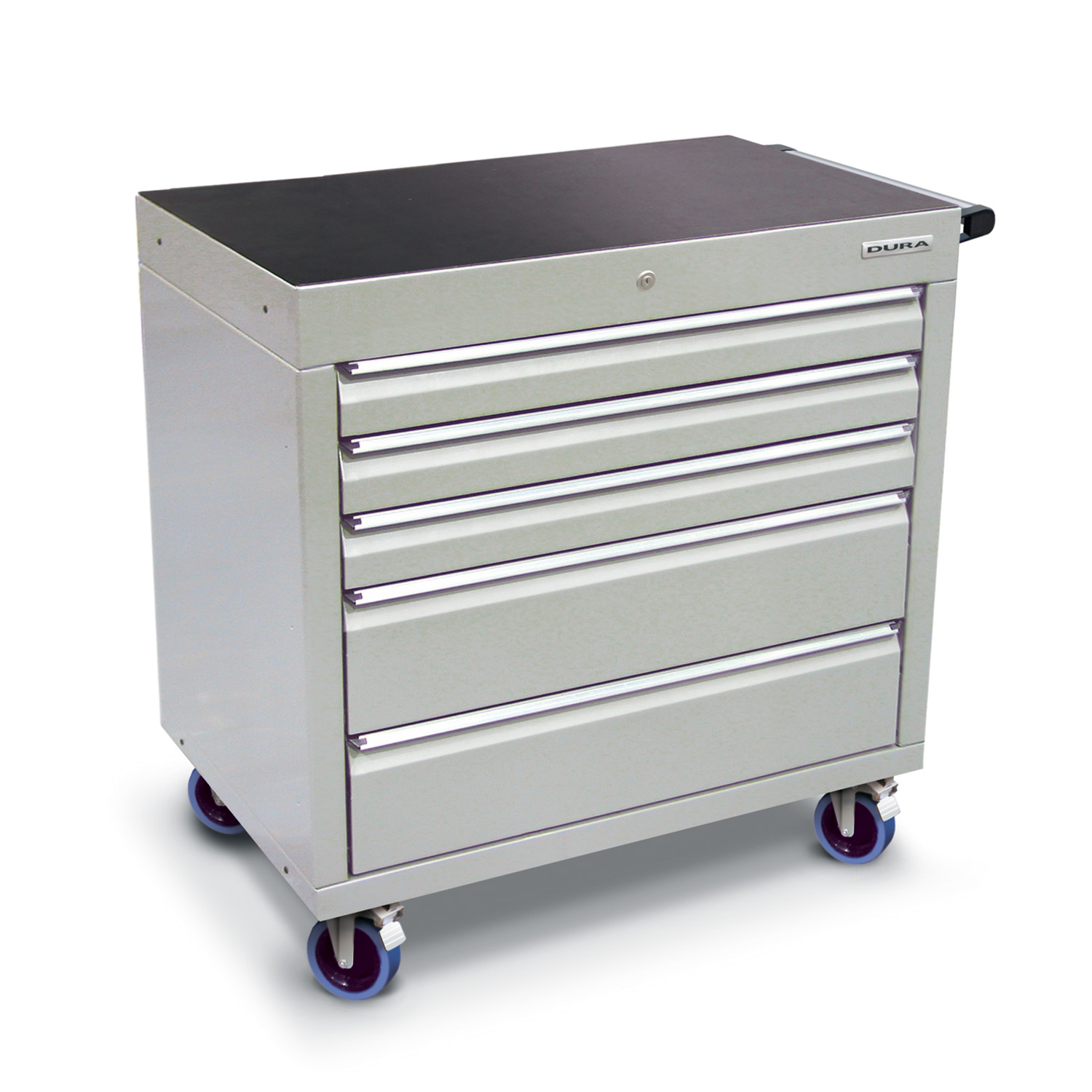 900 series cabinet with 5 drawers (3 medium, 2 large) and castors