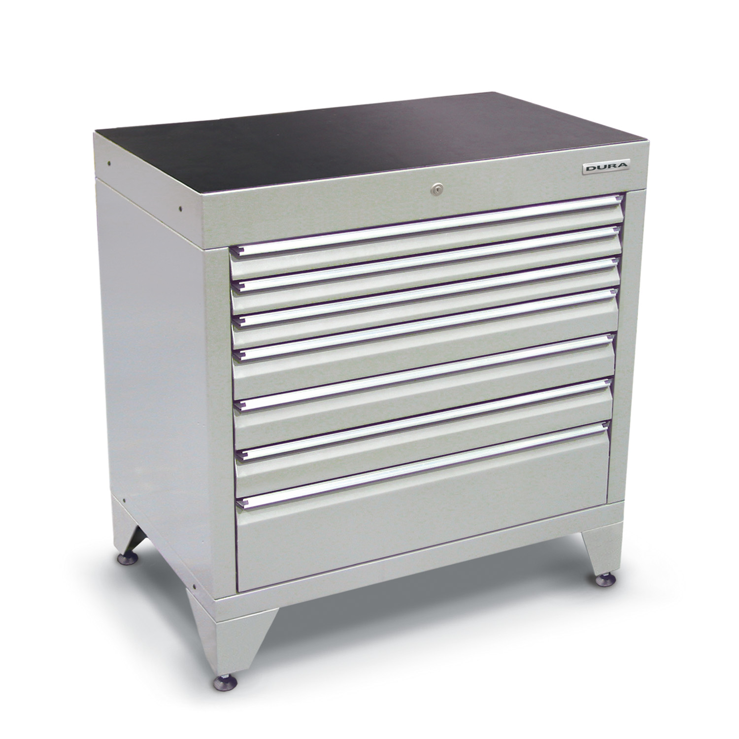 900 series cabinet with 7 drawers (3 slim, 3 medium, 1 large) and feet