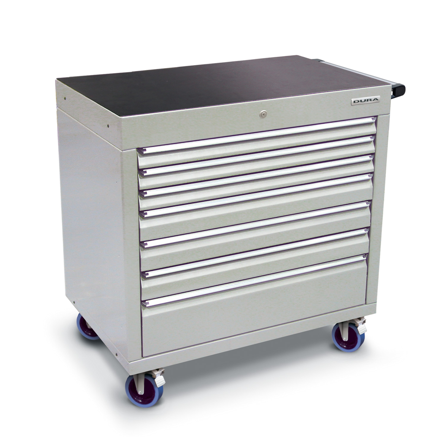 900 series cabinet with 7 drawers (3 slim, 3 medium, 1 large) and castors