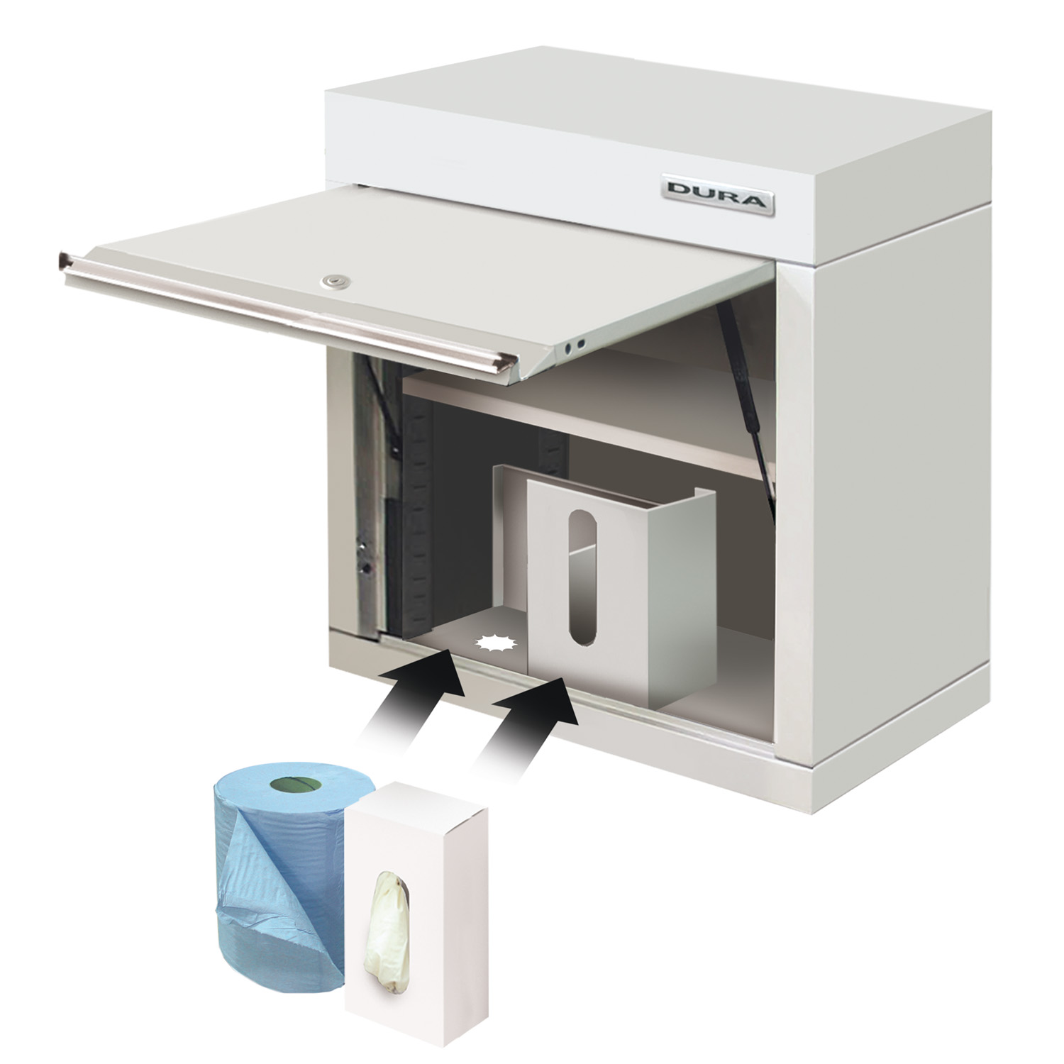 Wall cabinet with towel & glove dispenser (600mm)