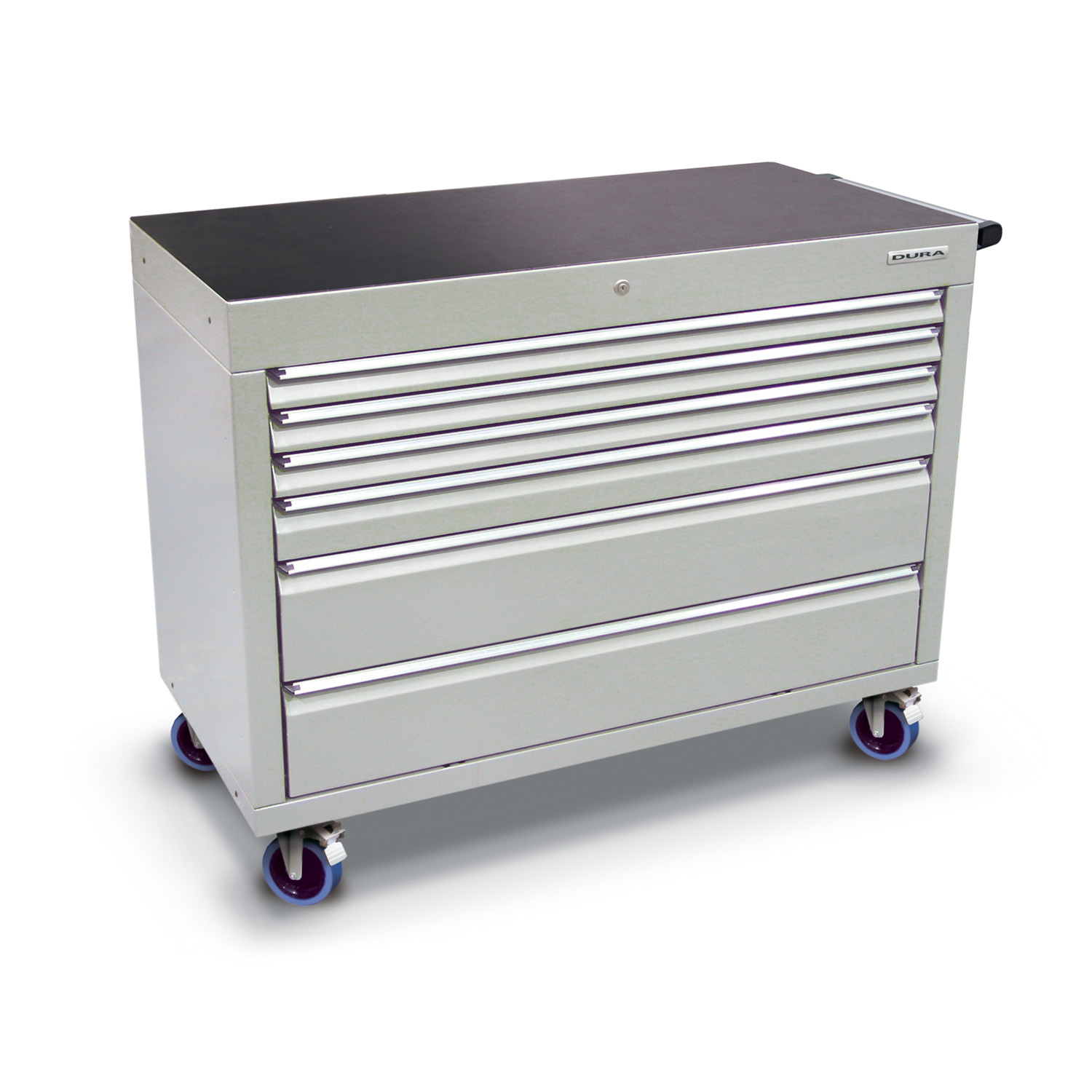 1200 series cabinet with 6 drawers (3 slim, 1 medium, 2 large) and castors
